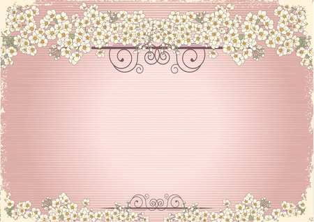 postcard: Vintage flowers postcard for text.Vector floral background with grunge elements Illustration