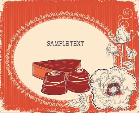 Floral postcard with chocolate sweets .Vector vintage background Stock Vector - 10301201