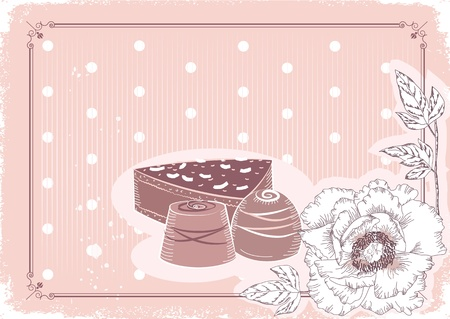 Floral postcard with chocolate sweets .Vector background in pastel colors.Vintage card Stock Vector - 10301180