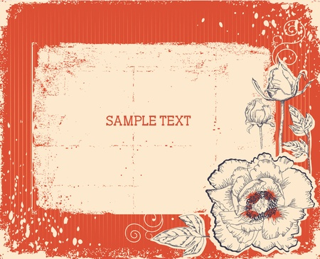 postcard: Floral postcard with chocolate sweets .Vector vintage background  Illustration