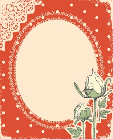 vintage background with vintage frame and roses for design Stock Vector - 10421311