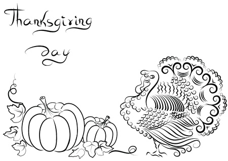 Background with turkey and pumpkins and text for text Vector