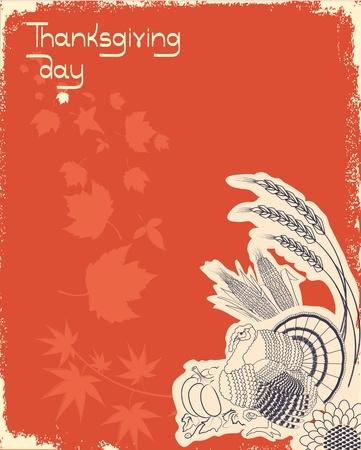 postcard background: Thanksgiving decoration postcard.Grunge background with turkey.