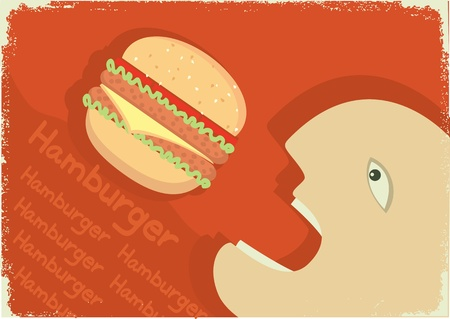 Man eating big hamburger. Vector