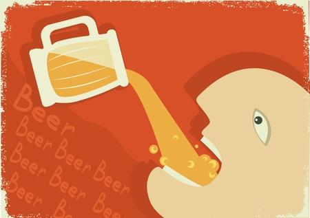 alcoholism: MAn drinking glass of beer. Illustration
