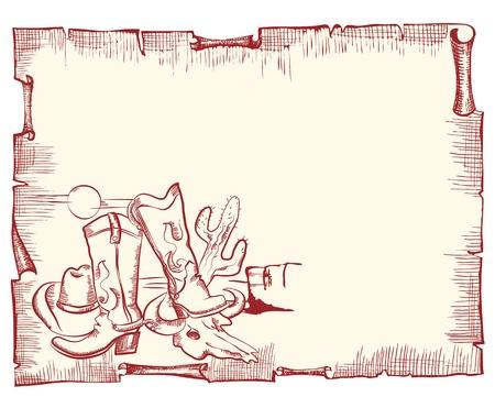 western background: Elementos de vaquero. Fondo oeste salvaje.Desplazamiento de vectores para texto Vectores