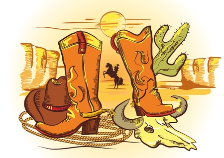 horses in the wild: Cowboy elements with rope and shoes.Color wild western image  Illustration