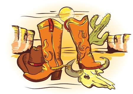 Cowboy elements .Color wild western image for design
