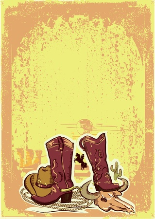 wild western background on old paper texture.Cowboy elements Vector