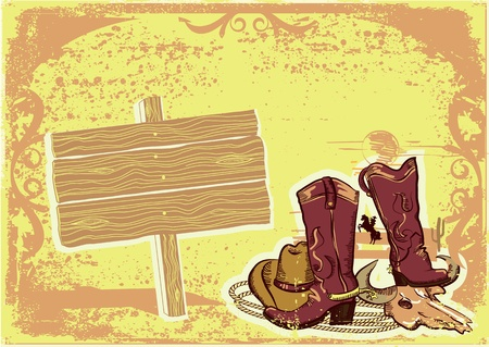 Cowboy elements with wood board for text.Color wild western image on old paper texture. Vector