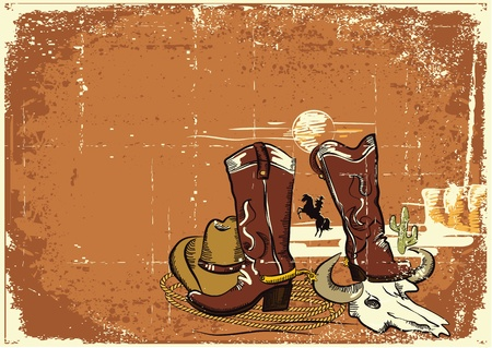 accessories horse: Cowboy elements with rope and shoes.Color wild western image on old paper texture. Illustration