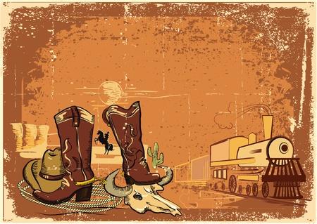 western background: Fondo oeste salvaje con locomotora de textura de papel viejo.