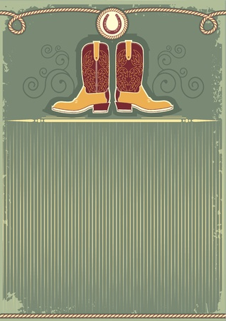 ranch: Cowboy boots.Vintage western decor background with rope and horseshoe