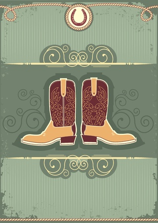 ranching: Cowboy boots.Vintage western decor background with rope and horseshoe