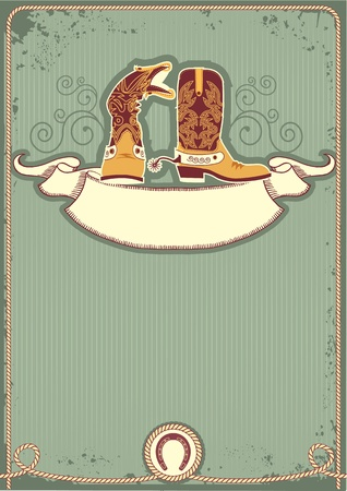 horseshoe vintage: Cowboy boots.Vintage western decor background with rope and horseshoe