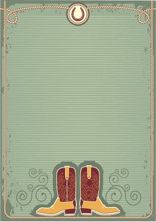 ranching: Botas de vaquero.Fondo de Vintage decoraci�n occidental con cuerda y herradura Vectores