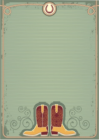 western background: Cowboy boots.Vintage western decor background with rope and horseshoe