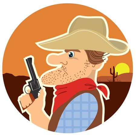 Cowboy with gun in color cartoon and landscape  Vector