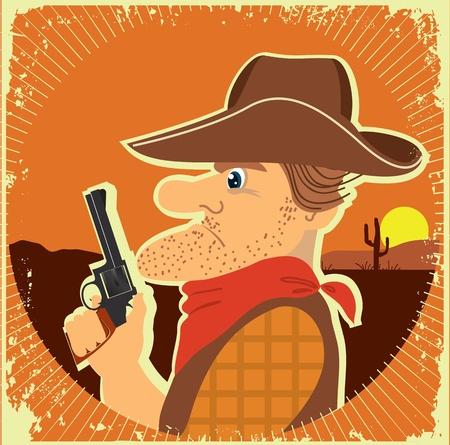 Cowboy portrait with gun in grunge style Vector