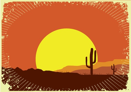 cactus desert: Grunge wild western background of sunset