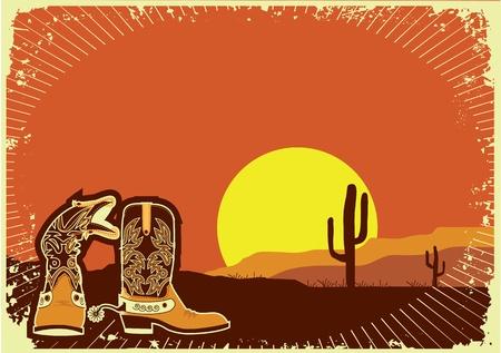 western wear: Cowboy boots in Grunge wild western background of sunset Illustration