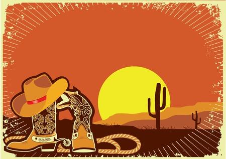 wild wild west: Stivali da cowboy e cappello Vettoriali
