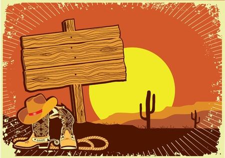 rancho: Elementos de vaquero sobre fondo sunset
