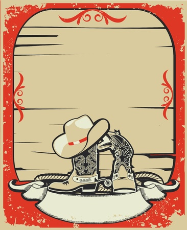 Cowboy elements.Red background with grunge elements decorationl .Retro image Vector
