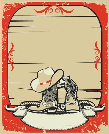 rain boots: Cowboy elements.Red background with grunge elements decorationl .Retro image Illustration