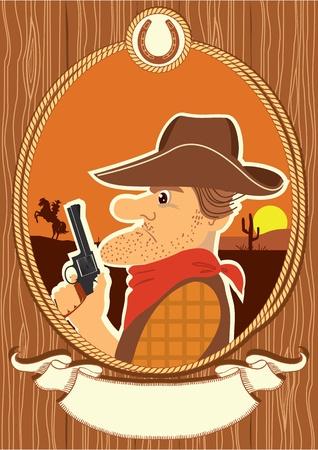 bandana western: Cowboy portrait in decor rope frame