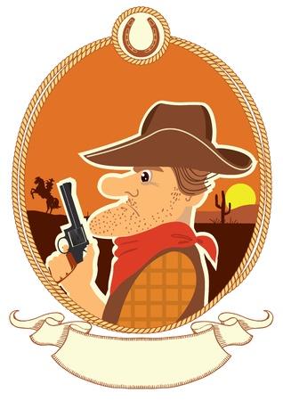 man gun: Cowboy portrait in decor rope frame