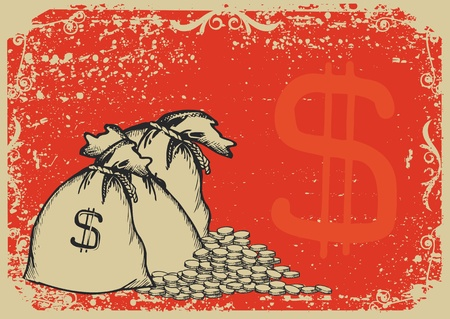 million: Money bags. graphic image with grunge background  Illustration