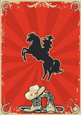 horse shoe: Cowboy on horse. red poster background for text