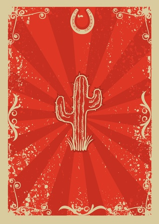 Cowboy old paper background for text withcactus .Retro image for text Illustration