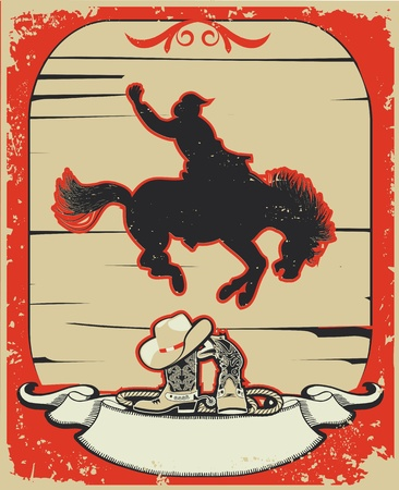 derby hats: Rodeo cowboy.Wild horse race. graphic poster with grunge background for text Illustration
