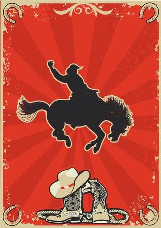 vaquero: Rodeo cowboy.Wild carrera de caballos. cartel gr�fico con fondo grunge de texto Vectores