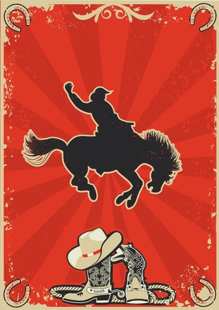 cowboy boots: Rodeo cowboy.Wild horse race. graphic poster with grunge background for text Illustration