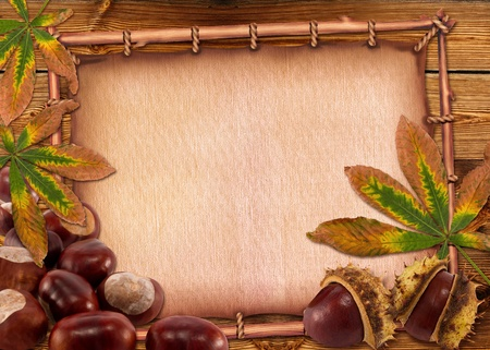 Autumn chestnuts and leaves on old paper background. photo