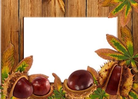 Wood background with autumn chestnuts and leaves on wood texture photo