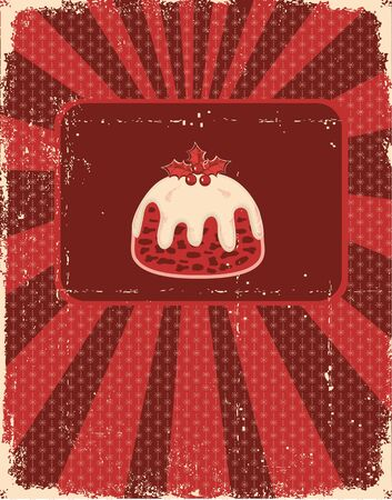 Vintage christmas card on old paper texture for design Vector