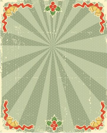 'retro styled':  Christmas card with holiday elements for design.Vintage background