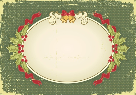 Vintage Christmas card for design with holiday elements.Vintage background Vector