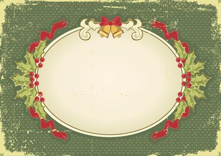 Weinlese-Weihnachtskarte für Design mit Urlaub elements.Vintage Hintergrund