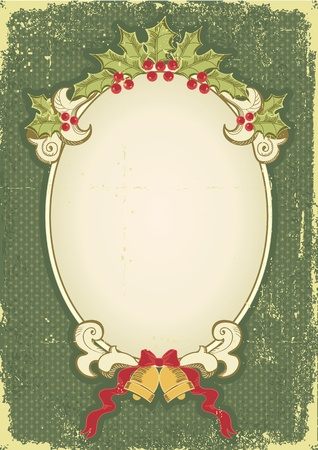 retro styled: Vintage Christmas card for design with holiday elements.Vintage background Illustration
