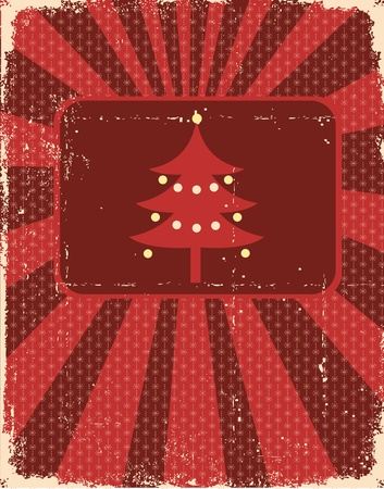 christmas backgrounds: Vintage christmas card on old paper texture for design