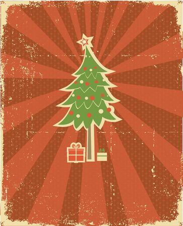retro styled: Christmas card.Vintage background. Winter holiday postcard Illustration