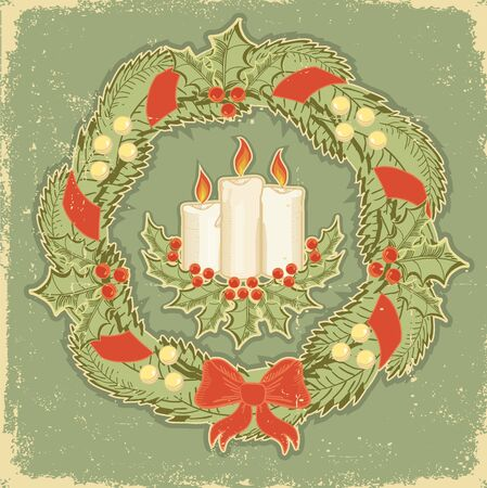 retro styled: Christmas card.Vintage red green background for text. Winter holiday postcard