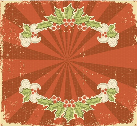 Christmas card.Vintage background. Winter holiday postcard Vector