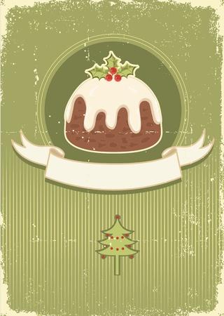 weihnachtskuchen: Vintage Christmas Pudding auf altem Papier Textur für Design