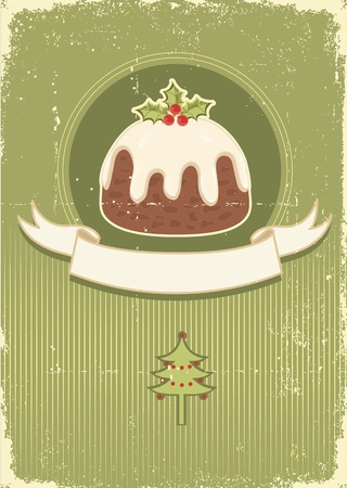 Vintage christmas pudding on old paper texture for design Vector